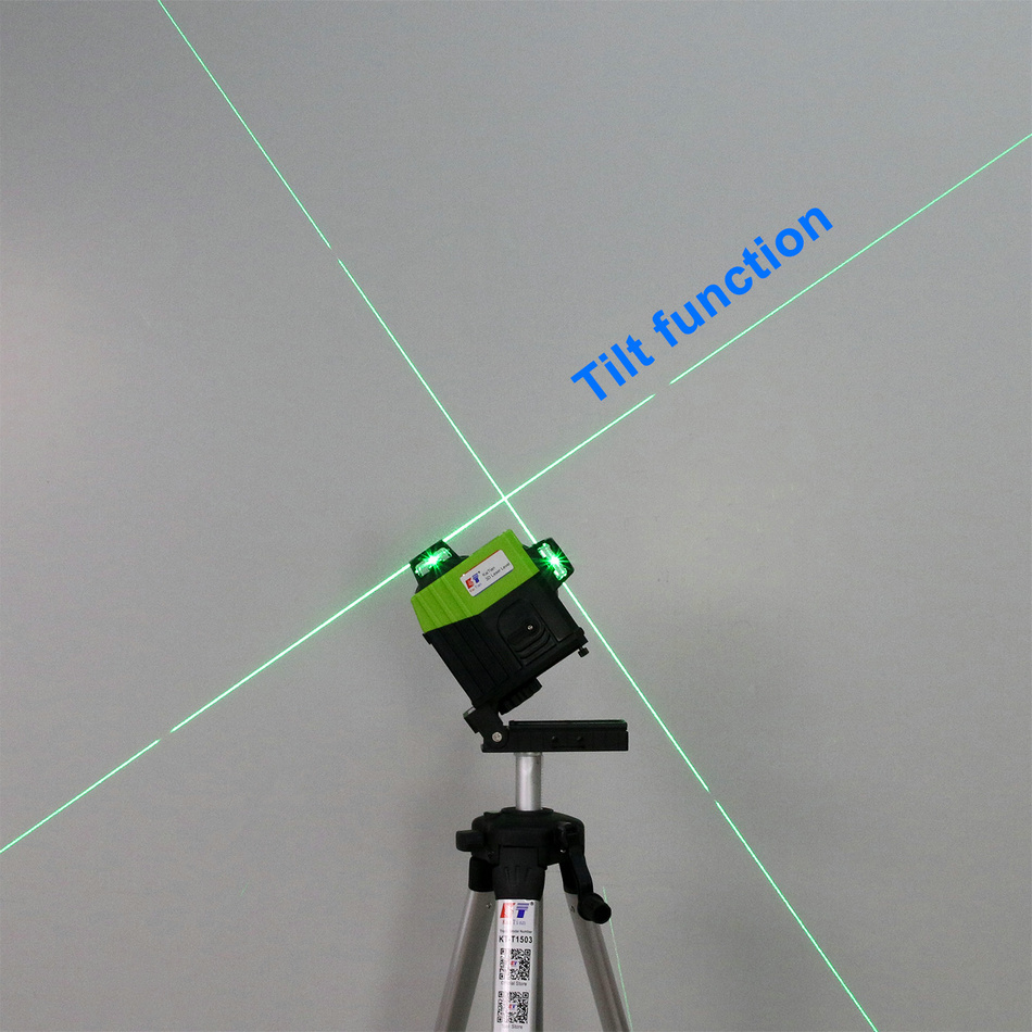KaiTian 12Lines 3D Laser Level Tripod Self-Leveling Cross Horizontal 360 Vertical Green Laser x Beam 532nm Line Nivel Level Tool tilt function A