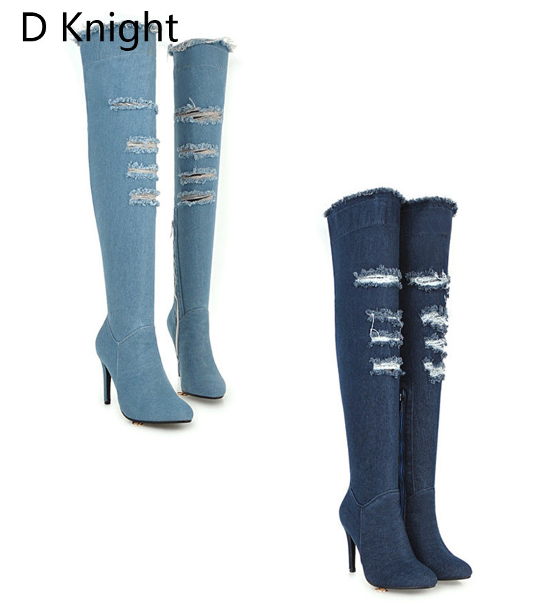 2018 Winter Boots Sexy Ponited Toe Women\`s Over The Knee Boots Fashion Denim Blue thigh High Boots Large Size 48 High Heels Boot (1)