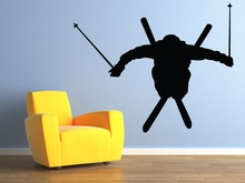 Black Wall Decor Airborne Skier - Ski Jumper Vinyl Wall Stickers For Sport Boys Bedroom House Decoration Removable Decals ZA244