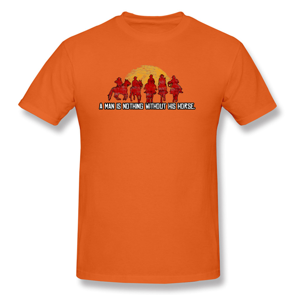 Slim Fit Custom T Shirt for Men Pure Cotton Labor Day Tops Tees Customized Tee-Shirt Short Sleeve Funky O-Neck Red Horse Sunset Nothing Without Horse Red orange
