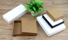 10 sizes Large small kraft paper scarf packaging box kraft black paper cardboard box white Covered lid gift packaging paper box(China)