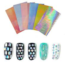 New Brand 3d Nail Art Stickers Hollow Geometric Adhesive Transfer Stickers Nail Art Decorations Holographic Nails Accessoires(China)
