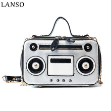 LANSO Woman Bag Recorder Panelled Flap Handbags Fashion Rivets Chain Shoulder Messenger Bags PU Leather Small Bag Female(China)