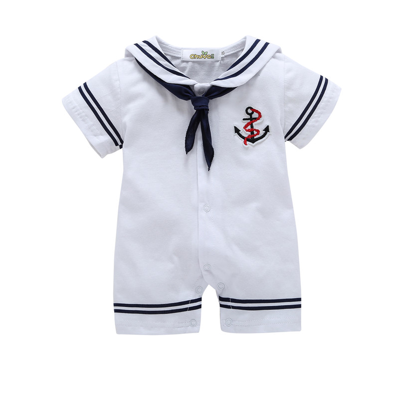 2017 summer Cotton Baby Rompers Newborn Baby Clothes Baby Boy Sailor style Clothing Jumpsuits Cute Baby Girls Clothes