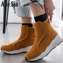 Ake Sia Occidental Graceful Slim Sexy Faddism Thin Leg Slip-On Ladies Womens Winter Bottine Flat Joggings Botas Shoes Boots F452(China)