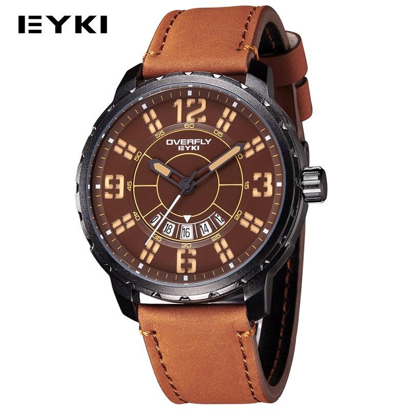 2016 Eyki fashion casual men sports watch leather strap military army analog quartz-watch waterproof watch men relogio masculino<br><br>Aliexpress