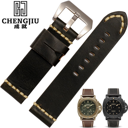 24 mm Wide Black Brown Orange Mens Replacement Watch Bands For Panerai Watches Bracelet Cow Leather Band Male  Montre Pulseras <br>