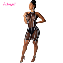 Buy Adogirl Sequins Sheer Mesh Bodycon Night Club Dress Sleeveless Halter Sheath Mini Party Dresses Women Sexy Vestidos Outfits