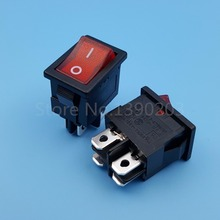 10Pcs RLEIL RL3-4 Red Lamp 4Pin ON-OFF Maintained DPST Mini Rocker Switch 6A 250V Panel Mount(China)