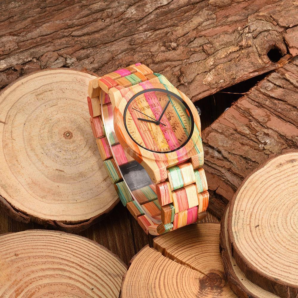BEWELL Full Bamboo Wood Watch Luxury Brand Womens Watch Fashion Style Colorful Bracelets for Women Christmas Gift 105DL<br>
