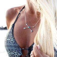 N997 Clavicle Women Necklace Boho Vintage Arrow Cross Lucky Arrows Turquoies Pendant Colar Everyday Fashion Jewelry Minimalist
