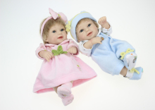 New Waterproof Mini Baby Doll Pair Lifelike Living Doll Solid Silicone Children Gift 12 inches(China)