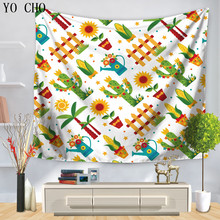 YO CHO Fresh Tropical Plants Garden Tapestry Summer Good July Wall Hanging Tapestries Hippie Home Decor Beach Towel Table Colth(China)