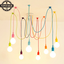 13 Colors DIY Spider Pendant Lights Multi-color Decorati Lighting E27 Bulb Holder Lamps Home Decoration 4-12 Arms Fabric Cable(China)