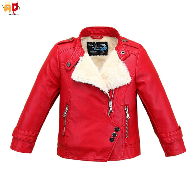 AD Fleece Leather Jacket for Boys Girls Winter Coat Thermal Thickening Outwear for Kids Childrens Clothing Clothes<br>