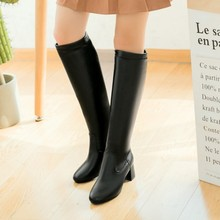New Fashion Women Autumn Winter Thigh High Boots Black Female Leather Warm Fur Plush Knee High Boots Square Heel Plus Size Shoes