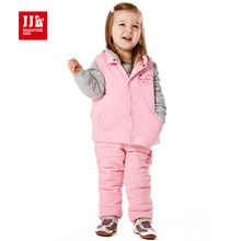 thicken baby girls winter suits snowsuits kids clothing sets toddler clothing kids clothes baby clothing sets pink cute 2017(China)