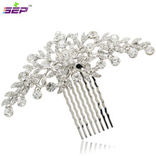 Clear Rhinestone Crystals Wedding Bride Bridal Floral Hair Comb Head Pieces Hair Pins Jewelry Accessories COFA2944(China)
