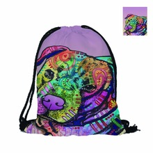 Cute Pitbull II Fashion Custom 3D Printing Pet Dog Double Sides Men Women School Bag Travel Drawstring Backpack Fast Food Bag