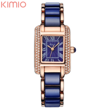 Kimio Rectangle Dail Watch White Ceramic Wrist Watches Quartz Women Casual Watch Full of Crystal