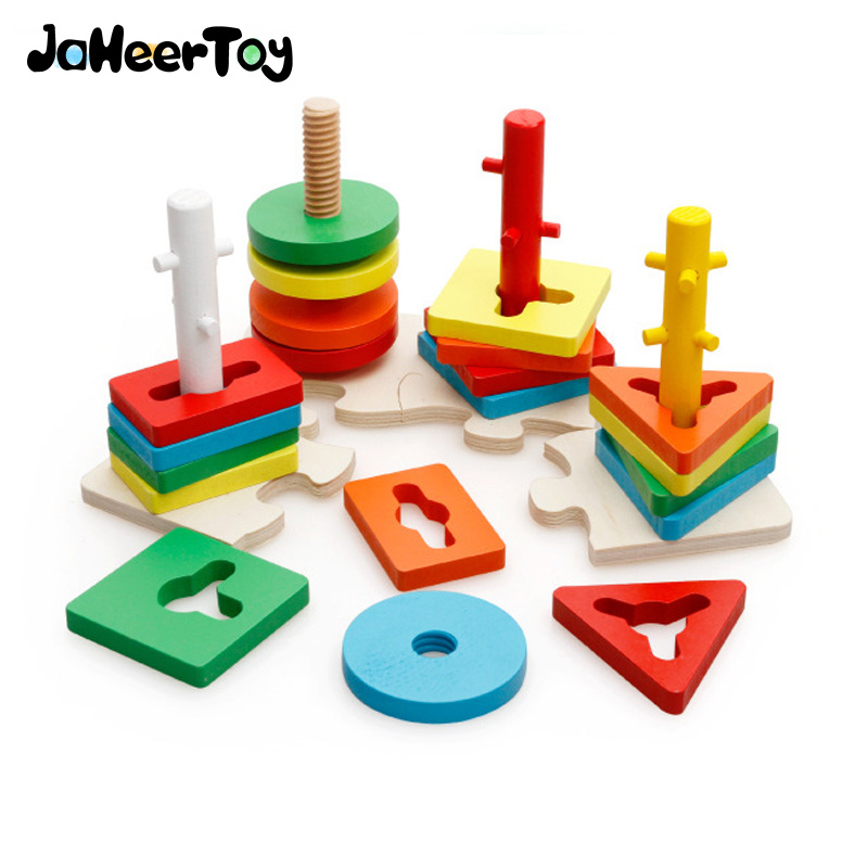 JaheerToy  Montessori Educational Toy for Children Geometric Assembling Blocks Baby Wooden Toys Assemblage Color Block<br>