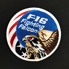 Embroidery F16 Fighting Falcon Patch 3D Tactical Patch Combat Eagle Armband Hook And loops Military Morale Badge 10cm(China)