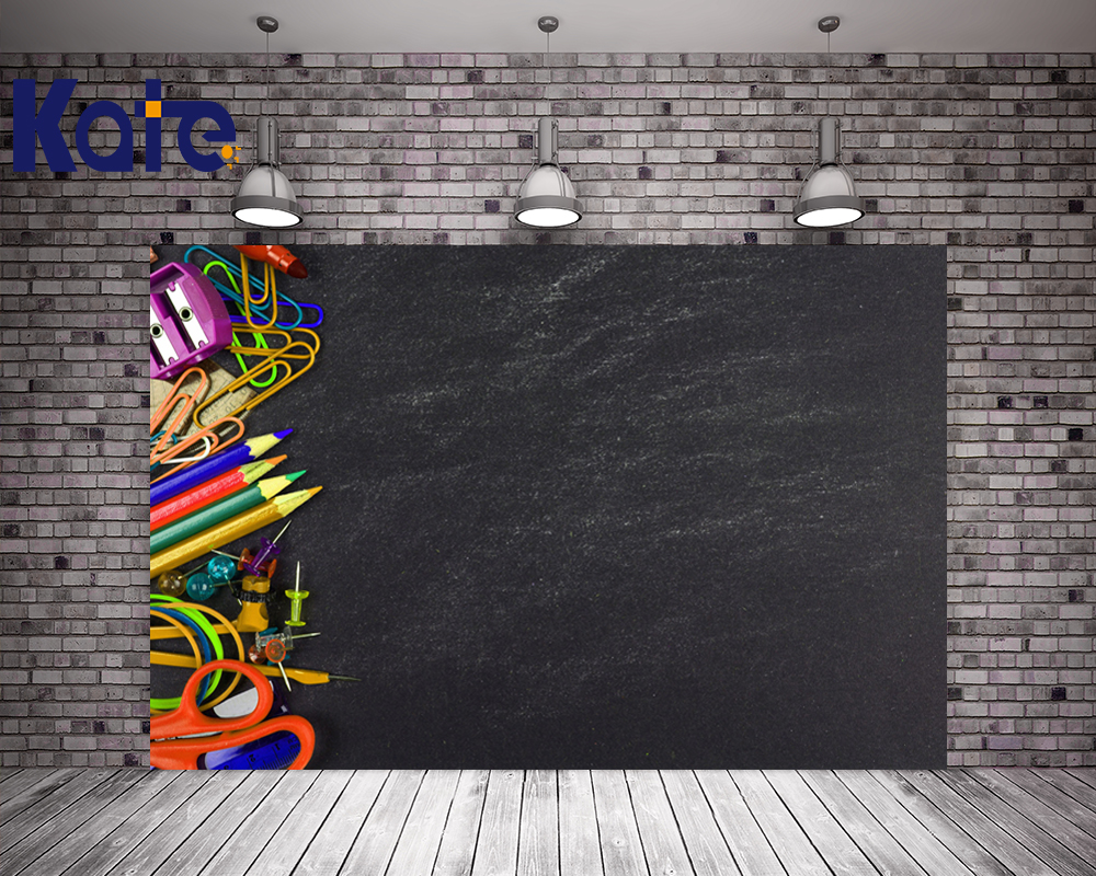 Kate 5X7FT Children Classroom Backdrop Blackboard Cloth Backdrops With Pencil Sharpener Scissors Photo School Background <br>
