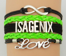 Drop Shipping Infinity/ Love/ ISAGENIX Bracelet-Customized Black with Neon Green Velvet Leather Strap Cosmetics Company Gift(China)