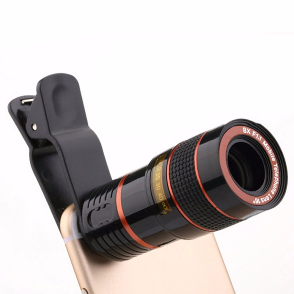 8X Universal Mobile Phone Zoom Lens Telephoto Lens Zoom Effect High-definition Lens Long Focus Monocular Phone Telescope