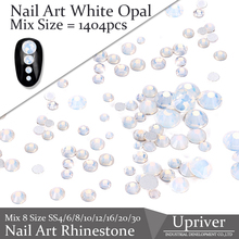 Glue On Flat Back 1404pcs White Opal Best Quality Non Hot Fix Glass Material Mix 8 Size Nail Art Rhinestones