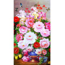 Hot 5D Diamond Embroidery Blossom Season Series 2016 DIY Diamond Embroidery Floral Partial Mosaic Layout 47 x 77 in Vase
