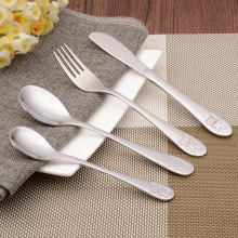 Quality Silver Cutlery Set Cute Animal bear Children Flatware Table Knife Fork Spoon Food Stainless Steel Dinnerware flatware