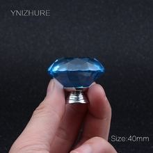 2017 Ynizhure Brand Sea Blue 40# Crystal Glass Drawer Single Hole Handle Furniture Kitchen Cabinet Accessories Decoration Knob