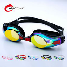 Leacco Small Frame Race Swim Goggles For Men Or Women Colorful Plating Scratch-proof Lens Anti UV Anti Fog Silica Gel Adjustable