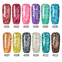 Sexymix 2017 Colorful Professional Glitter Effect Blue Color Shiny Nail Gel Polish Top Quality Soak off UV Nail Gel Varnish 7ML