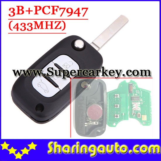 Free shipping 3 Button Remote Flip Key With PCF7947 Chip 433MHZ For Renault Clio  (1piece)<br>