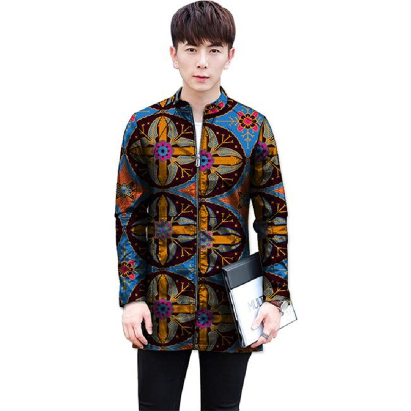 Customized Africa Print Men Baseball Jacket Casual African Clothes Stand Collar Man Long Coats Dashiki Style Overcoat(China)