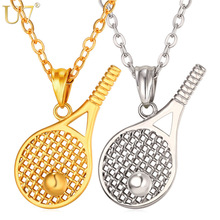 U7 Tennis Racket Necklace For Men/Women Gift Stainless Steel Gold Color Chain & Pendant Kpop Sport Fitness Jewelry New P1014