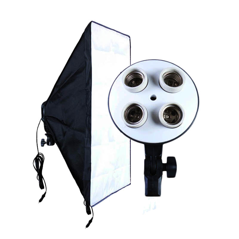 Photo Studio Accessories Soft Box 100V-240V 4-Socket Lamp Holder + 50*70CM Light Softbox Photography Lighting Equipment(China)