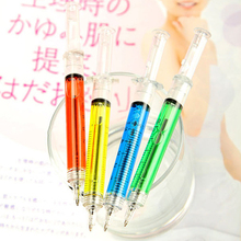 4 pcs/lot Liquid Novelty Syringe Ballpoint Pen Stationery Cute Syringe Ball Pens Office Supplies Child Ballpen Gift
