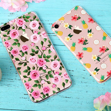 EKONE Ultrathin Soft Phone Case For iPhone 6 6S Plus 7 Plus 8 Plus Case Silicone Rose Fruit Animal Food Cover For iPhone 7 Case