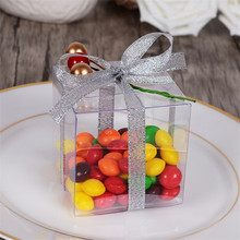 Clear Square Wedding Favor Gift Box Transparent Party Candy Bags 50pcs  (no have any accessories)