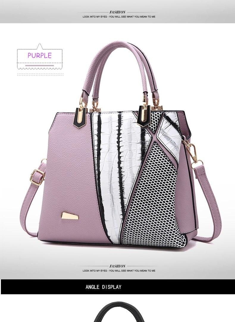 Fashion Women Tote Bag PU Leather Ladies Patchwork Bag Female Handbag Women Messenger Crossbody Bag