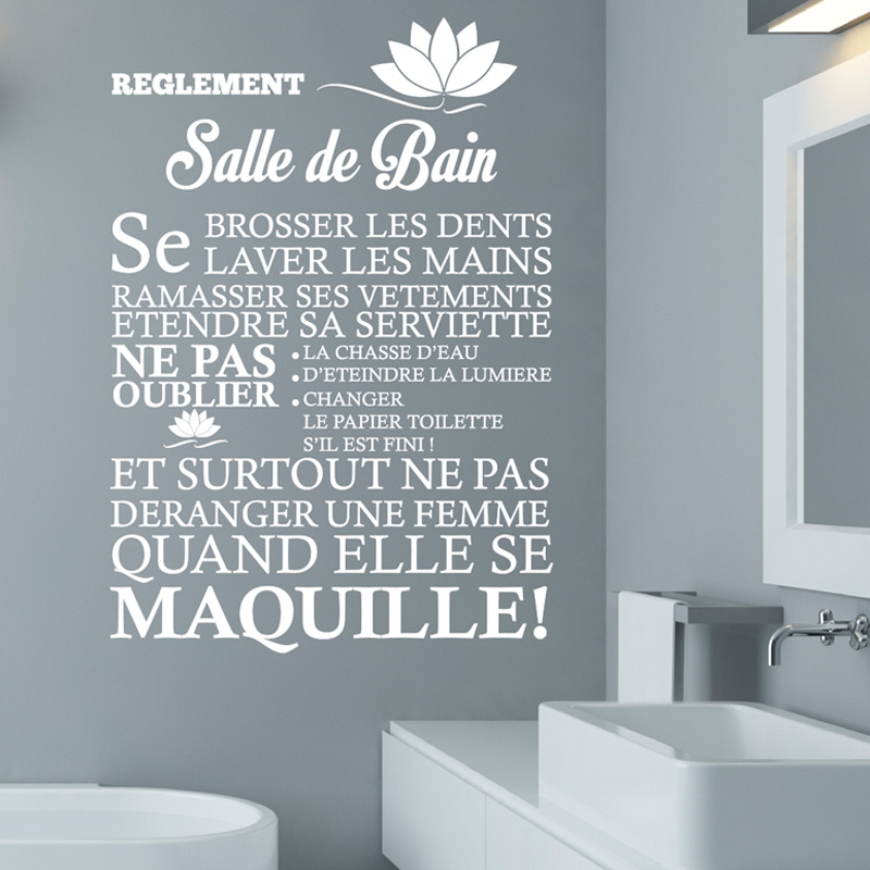 Creative French WC Bathroom Wall Stickers Home Decor Toilet Decal DIY Art Murals JG2432