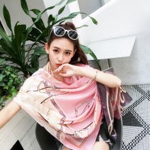 2017 New Products Hot Silk Scarves Women's Sunscreen Decoration Fashion Print Style Travel Shawl Outdoor Beach Cover Scarf(China)