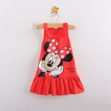 Unkids New Kids girls clothes cute cartoon Dress, 2 colors of red and pink nice Clothes, lovely baby girls dress