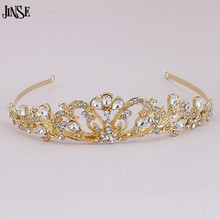 JINSE Wedding Crystal Tiaras Gold Silver Pageant Headband Rhinestone Charms Crown For Women Bridal HairAccessories Jewelry CR160