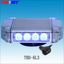 Free shipping!TBD-6L3 High quality Blue LED mini lightbar,police warning light, Emergency ambulance Car Flashing warning light