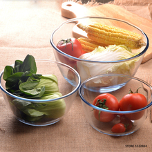 Reinforced Glass Bowl Salad Serving Bowl Prepware Glass Mixing Bowl Clear Salad Mixing Serving Container Quality Round Servers