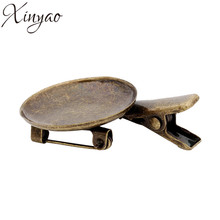 10pcs/lot Antique Bronze Copper Blank Hairpins Tray Barrettes Base Fit Diameter 25mm Photo Glass Cabochon Cameo Settings K0540